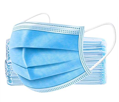 50PCS Disposable 3-Ply with Earloops Protective for Dust,Pollen,Blue(Ships from US Carrier via USPS)