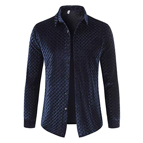 Men's Shirt Slim Fit Solid Color Gold Velvet Plaid Patterned Long Sleeve Lightweight Breathable Top for Suit Business Wedding Leisure Party Shirts XXL