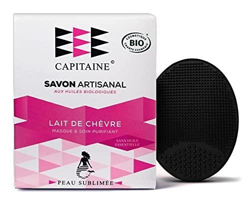 CAPITAINE Savon & Masque Français au Lait de chèvre Bio 100g pour Visage, Corps & brosse offerte - Réduit l'acné, les boutons, les tâches, eczéma et point noirs - Pour tous types de peaux