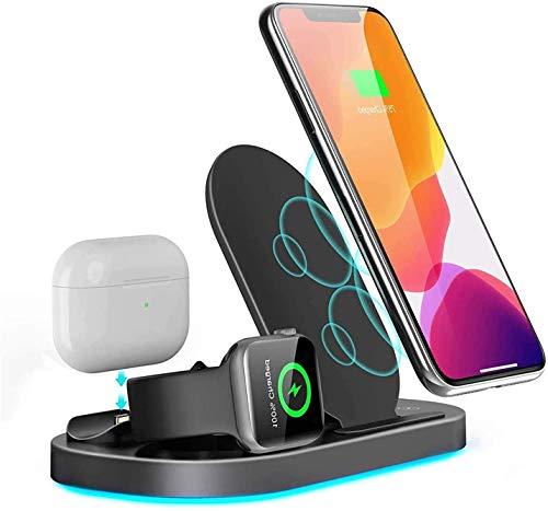OH 3 en 1 Cargador Inalámbrico para Watch Y Airpods Pro, Estación de Dock de Carga Inalámbrica para Iphone 12/11 / Pro Max/Xr/Xs Max/X / 8/8 Plus/Samsung S20 / S10 Carga di