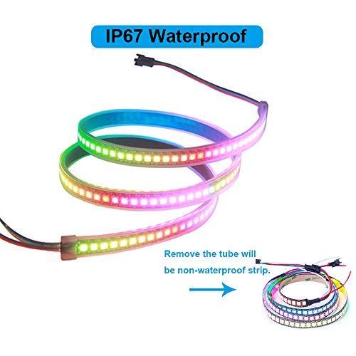 VIPMOON WS2812B 144 LED/Pixel/m PCB nero Singolo indirizzabile Colore pieno Waterproof 3.2FT 1m Compatibile LED Controllore