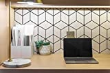 Geometric Wallpaper Black and White Wallpaper 17.7'x197' Peel and Stick Wallpaper Modern Self-Adhesive Waterproof Vinyl Roll Removable Contact Paper for Cabinets Shelf Liner Decoration Wall Covering