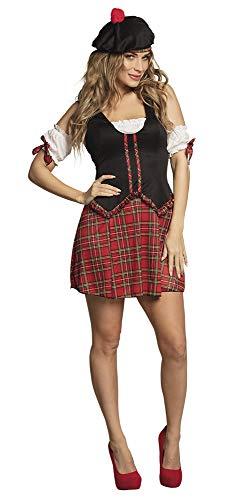 shoperama Sexy Scottie Hottie Schottin Damen-Kostüm Kleid Mütze Puffärmel Kilt Schotten-Rock, Größe:36/38