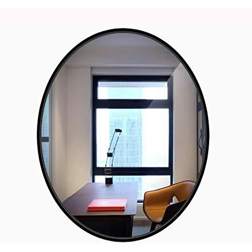 Wall-Mounted Mirrors Specchio da Bagno Moderno , Specchio Ovale a Parete con Bordo in Legno Specchio per Trucco in Stile Specchio installato (Nero, Bianco