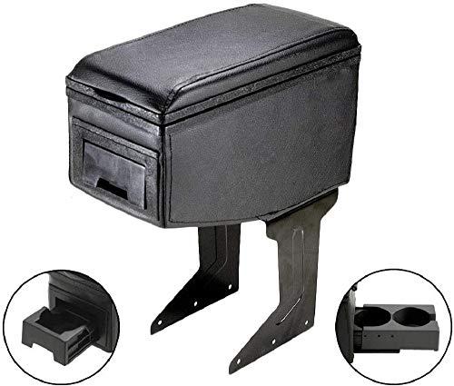 Autohobby 42007 Reposabrazos central universal, consola central, piel sintética, caja de almacenamiento, soporte para bebidas, color negro