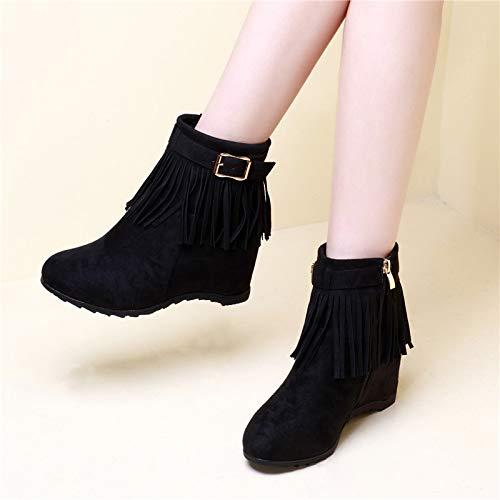 Shukun enkellaarzen herfst en winter hoge hak laarzen Women'S Tassel Women'S laarzen korte buis Martin laarzen binnen de hoge helling met een enkele laarzen Women'S Boots