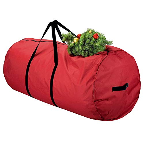 TUPARKA Large Christmas Tree Storage Bag Fits Up to 9 ft Artificia Disassembled Trees Extra Large Moving Bags with Zipper, Red