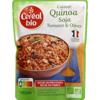 Céréal Bio Quinoa, Soja, Tomates & Olives - Sachet Micro-ondable, Rapide à Réchauffer - Végan et Bio - 220g - 207880