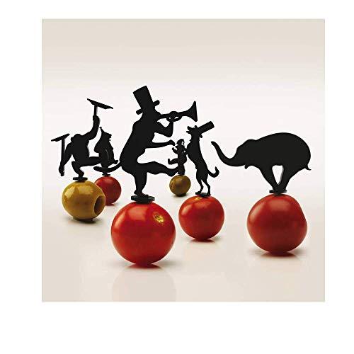 PA DESIGN - Set di 18 picchetti per aperitivo Circus Picks, Colore: Nero