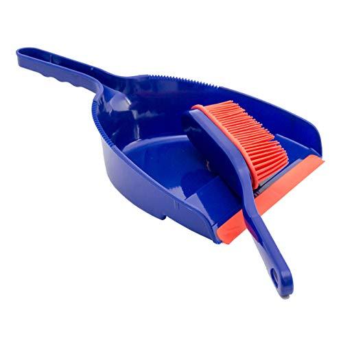 Lantelme Kehrgarnitur Handfeger Schaufel Set Gummibesen Kehrschaufel weiche Gummilippe Farbe Blau Rot Kehrset 6813