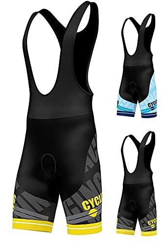 Salopette per ciclismo, imbottita in gel 3D, pantaloncini da ciclismo con stampa a sublimazione, di FDX, FDX-1320-20-16e, Yellow, L