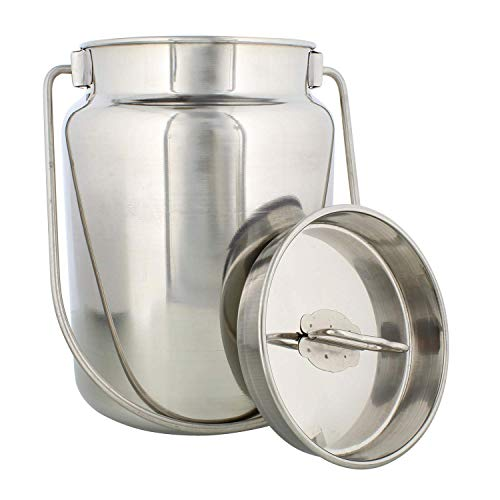 WhopperIndia Stainless Steel Plain Milk Can/Milk Pot/Oil Can with Lid - Capacity 10 Qt - Diameter -