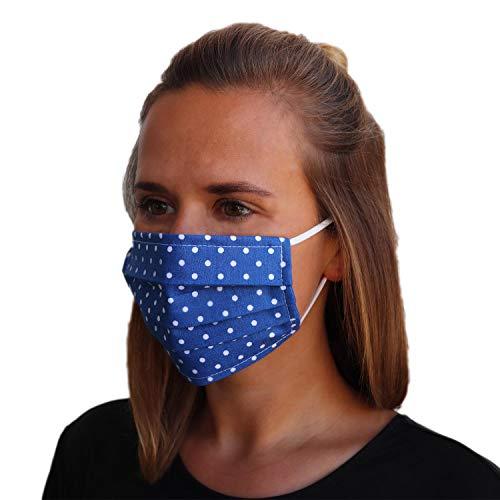 LIEVD® Mundschutz Maske 100% Baumwolle Made in Germany | OEKO-TEX 100 | Gesichtsmaske waschbar | Mund und Nasenschutz wiederverwendbar | Behelfsmaske 2-lagig (Größe S - Dunkelblau)