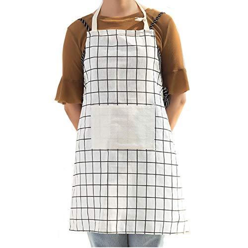 Sunfauo Mandil Cocina Mujer Delantal Cocina Mujer Las Mujeres Delantal Delantales de Cocina Delantal de Las Mujeres Delantal de Mujer White