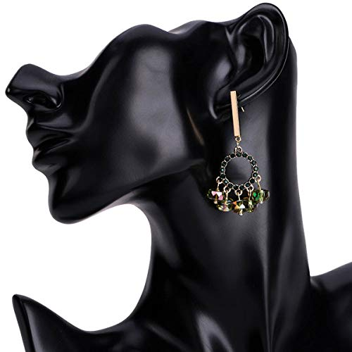 WANG XIN Anillo Grande exagerado Pendientes de Diamantes Pendientes de Moda Mujer Pendientes