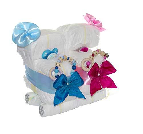 dubistda© Windeltorte Zwillingswagen blau/rosa - Geschenk für Zwillinge Geschwister - Windelkinderwagen + 2x Greifling (rosa/blau)