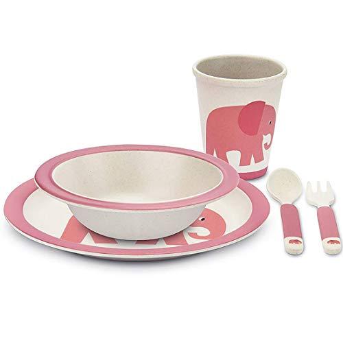 TOUS LES CADEAUX Coffret de Vaisselle pour Enfant - en Bambou - Elephant