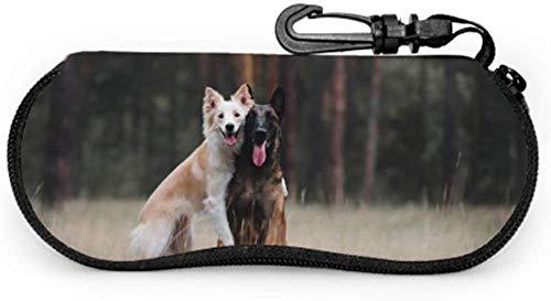 Hug Cute Dog Friends Funda de animales para gafas Funda de anteojos para hombre Funda ligera de neopreno portátil con cremallera Funda blanda para gafas de sol portátil