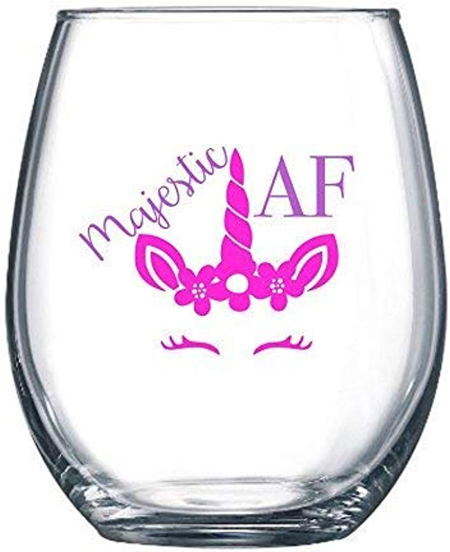 Owings Designs Majestic AF Unicorn 21oz Large Stemless Wine Glass Funny Wine Glasses For Moms Sisters Best Friends