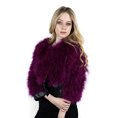 ZUCKER Natural Marabou Feather Jacket with Faux Leather Trim- 3/4 Sleeve Vintage Style Bolero Wedding Wrap for Women (Boysenberry Purple, Large)
