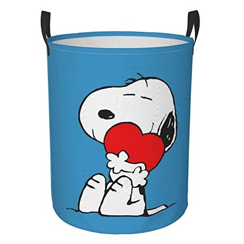Cartoon Snoopy - Cesta de lavandería redonda impermeable con asa, de pie y plegable multifuncional (dos tamaños) M