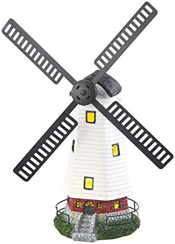 Lunartec Windmühle Garten: Solar-Deko-Windmühle mit drehendem Windrad & LED-Licht, 8-Stunden-Akku (Windrad mit LED Beleuchtung)