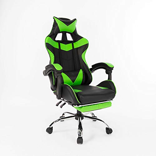 GTD-RISE Desk Chair Office Chair Ergonomic High Back Racing Style Reclining Office Chair Adjustable Rotating Lift Chair PU Leather Gaming Chair Laptop Desk Chair with Footrest (Color : Green)