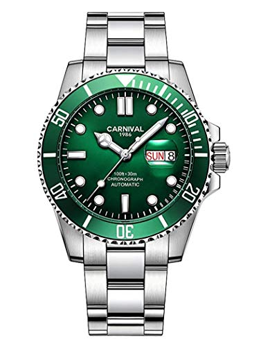 Mens Automatic Watches Classic Rotatable Bezel Stainless Steel Diving Watch Luxury Dress Wrist Watch (Silver Green)