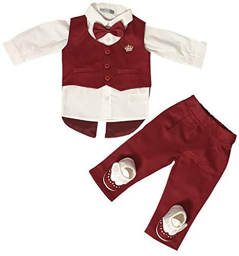 Dilaras Babybekleidung Taufanzug 4 Teilig Baby Jungen (Rot, 56/62 (0-3 Monate, Weste mit 3 Knöpfen))