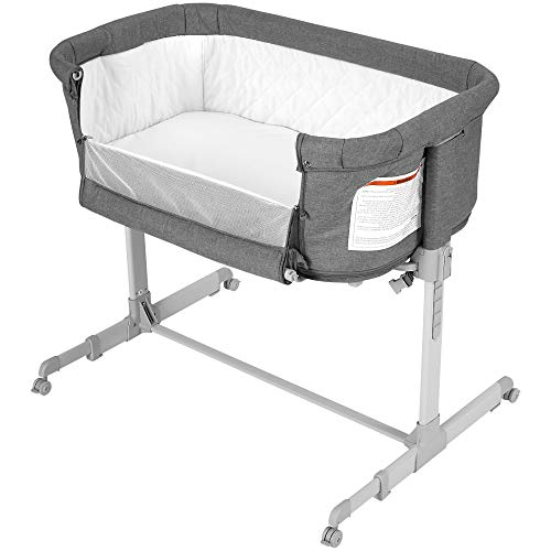 Baby Bassinet Bedside Sleeper, Co Sleeper for Baby, Transforms to Playpen, Easy Folding Portable Crib (Grey)- KoolaBaby