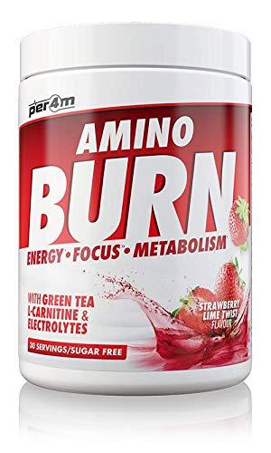 per4m Amino Burn 30 Servings | Strawberry Lime | Vegan Amino Energy Drink | Zero Sugar