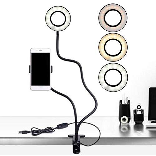 chinejaper Selfie Ring Light 2-in-1 LED ringlicht met houder voor mobiele telefoon, 3 licht-modus, 10 niveaus helderheid LED bureaulamp voor mobiele telefoon, live-overdracht, make-up