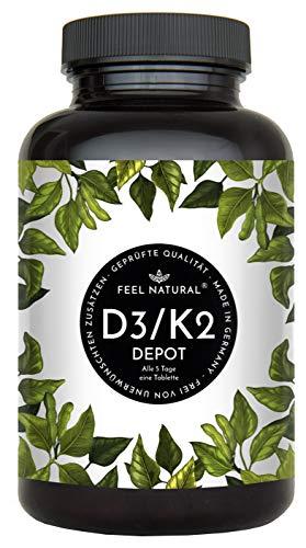 Vitamin D3 + K2 Tabletten - 180 Stück - Hochdosiert mit 5000 I.E. Vitamin D3 und 200 mcg Vitamin K2 pro EINER Tablette - Premium: All-Trans MK-7 aus Natto 99+% - Hergestellt in Deutschland