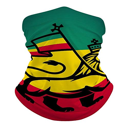 Lion of Judah Rasta Face Mask Bandana Cooling Neck Gaiter Summer Breathable UV Dust Protection Balaclava Face Cover for Outdoor Sports