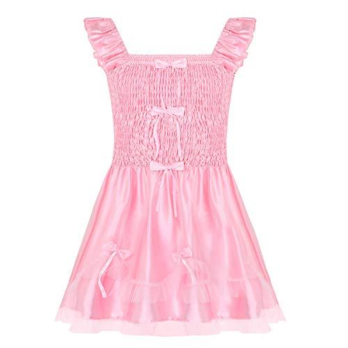 inhzoy Männer Sissy Dessous Satin Nachthemd Rüschen Trägerkleid Herren Reizwäsche Babydoll Negligee Sleepwear Rosa Rosa XXL