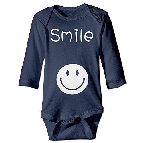 MSGDF Unisex Infant Bodysuits Smile Boys Babysuit Long Sleeve Jumpsuit Sunsuit Outfit Navy