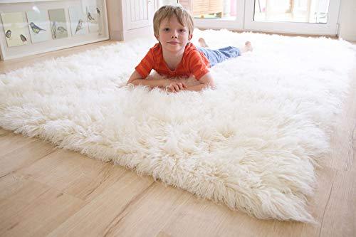 Steffensmeier Flokati 1500 Teppich natur Kult Shaggy Teppich Hochflor Langflor neu Neuseeland 100% Schurwolle, Größe: 70x140 cm