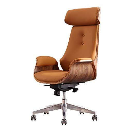 Silla de escritorio Mid Century para oficina en el hogar, silla giratoria ajustable moderna para computadora con reposacabezas, silla ejecutiva con respaldo alto con ruedas, madera curvada y c