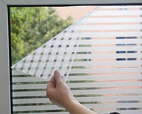 """RoyalWallSkins Static Cling Stripes Privacy No-Glue Window Film Glass Covering Film for All Kinds of Smooth Glass Surface 17.7""""x 78.7"""""""