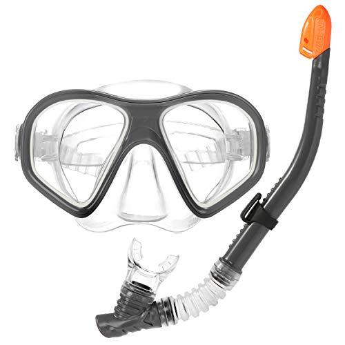 com-four® 2-teiliges Schnorchel-Set - Taucherbrille und Schnorchel zum Tauchen - Tauchmaske für Kinder und Erwachsene (2-teilig - Schnorchel + Taucherbrille)