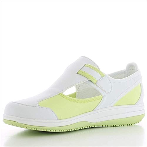Oxypas Medilogic Candy Slip-resistant, Antistatic Nursing Shoes in White with Light Green Size 39 EU (5.5 UK)