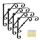 JOUS Soporte para Estanterías De Metal (4 Piezas), Soporte De Estantes Triangulares Montados En La Pared, Escuadras para Estanterías Ángulo Recto De 90°, para Sala De Estar, Dormitorio, Baño, Cocina