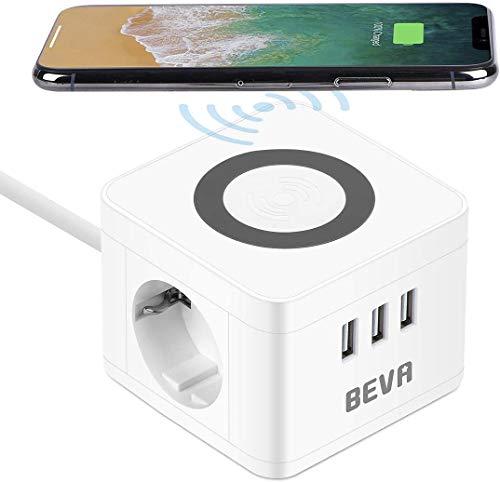 Steckdosenwürfel, BEVA Cube Steckdosenleiste 2 Fach + 3 USB mit Wireless Ladefunktion Mehrfachsteckdose Schutzkontakt Desktop-Ladestation, Handy-Ladegerät für Reise, Haushalt und Büro, Weiß