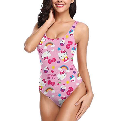 Costume intero da donna Hello Kitty con stampa di gelato da spiaggia, costume da bagno monokini costume da bagno da bagno S-XL, bianco