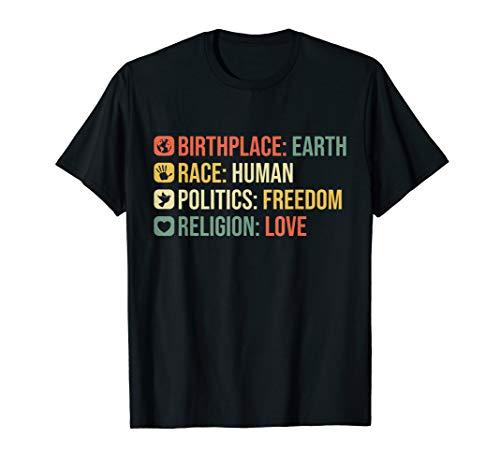 Geburtsort Erde Rasse Mensch Retro Politische Menschenrechte T-Shirt