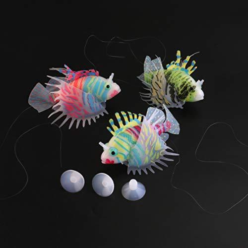 UEETEK 3pcs Aquarium künstlichen Fisch Silikon Rotfeuerfische schweben Dekoration Ornament