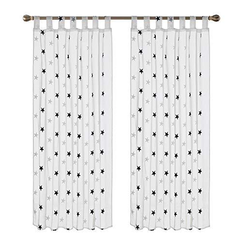 Deconovo 2er Set Voile Vorhang Schlaufen Vorhänge Kinderzimmer Dekosachals Vorhang Leinenoptik 175x140 cm Stern Blau