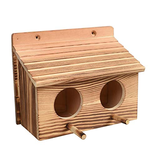 Wangduodu Casa de Madera para pájaros, nidos de pajarera, Caja de cría, Accesorios para jaulas, Caja de Nido Decorativa para jardín, Patio, casa de pájaros para gorrión de Golondrina