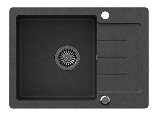 VBChome Spülbecken Schwarz 60 x 44 cm Granit Einzelbecken Einbauspüle gesprenkelt reversibel Verbundspüle + Siphon Waschbecken