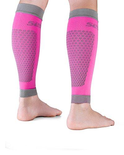 SLS3 Waden Kompressionsstrümpfe ohne Fuß | Sport Kompressionsstrumpf | Tubes | Kompressions-Beinlinge | Beinstulpen S/M PINK